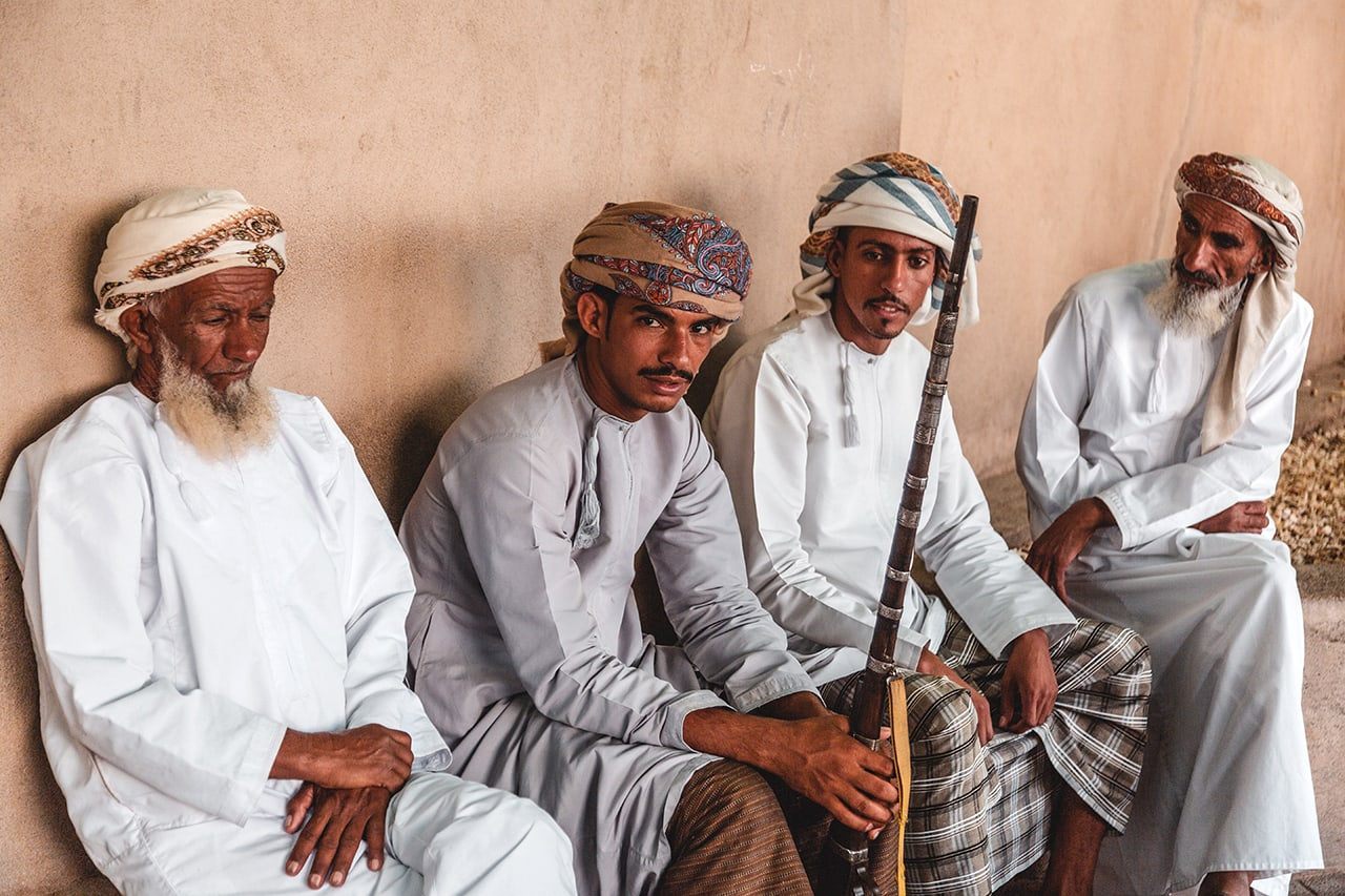 A group of Omani men at the Nizwa gun market.