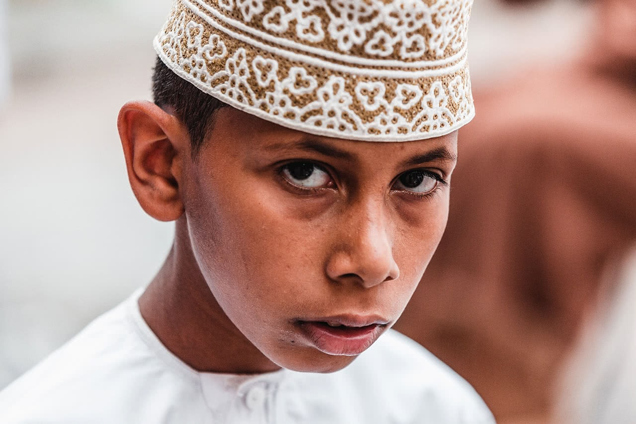 An Omani boy at the Nizwa Cattle Market.