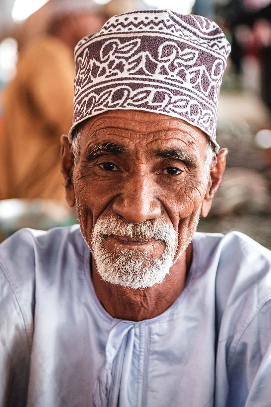 A vendor at the Mutrah Fish Market in Muscat, Oman.