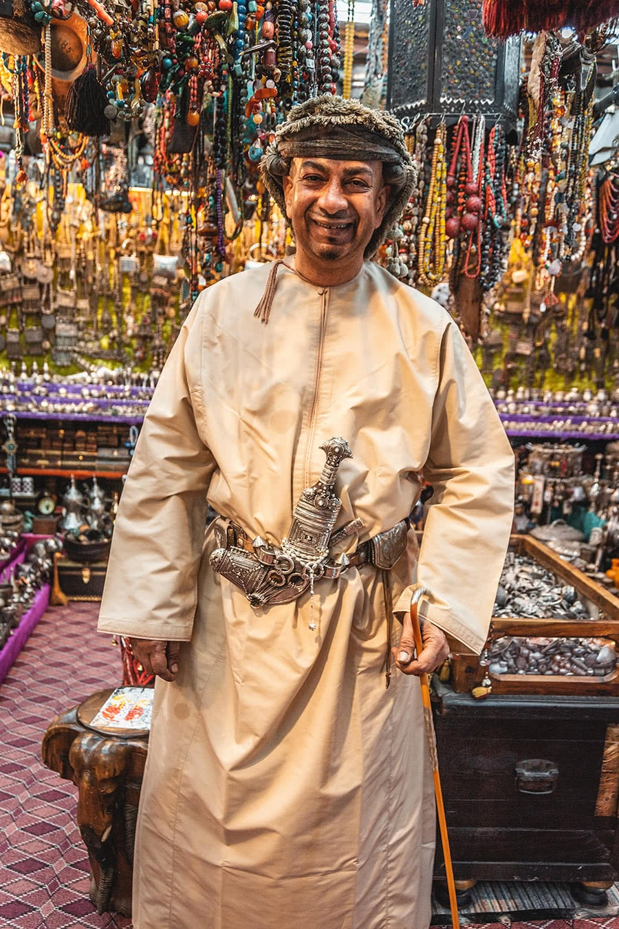 Vendor at the Mutrah Souq, Muscat, Oman.