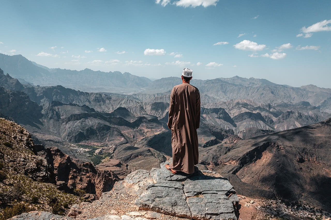 My guide Mohammed, standing over the Wadi Bani Auf in Oman.