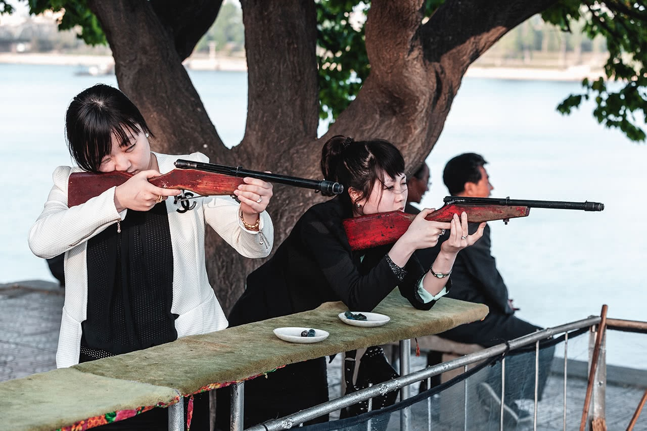 North Koreans target shooting in Pyongyang.