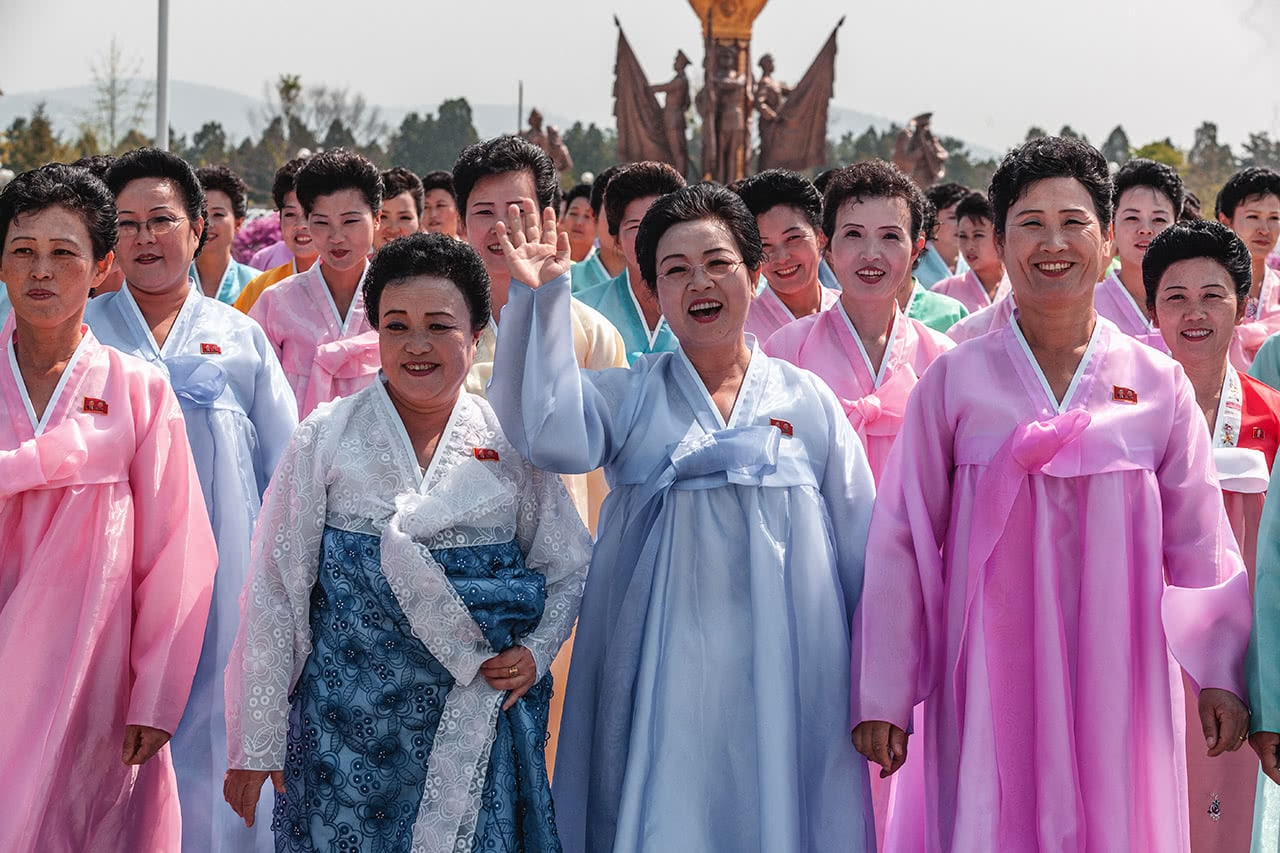 North Korean women dressed in traditional Hanbok dresses at Kumsusan Palace of the Sun Mausoleum in Pyongyang, North Korea.