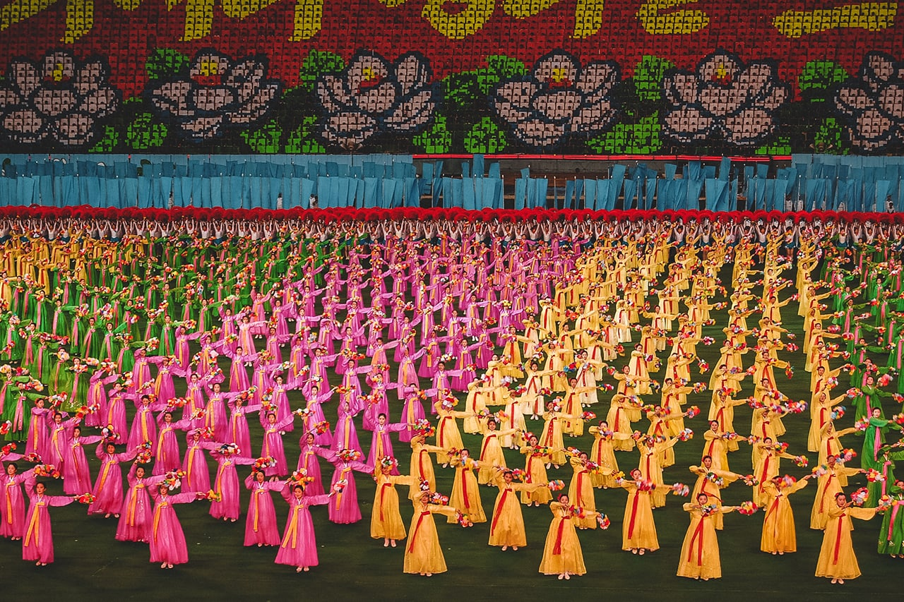 Performers at the Arirang Mass Games in Pyongyang, North Korea.