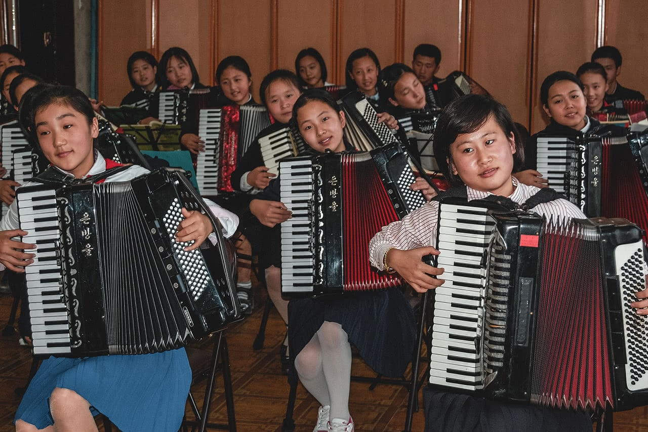 Music practice at the at the Mangyondae Children's Palace in Pyongyang, North Korea.