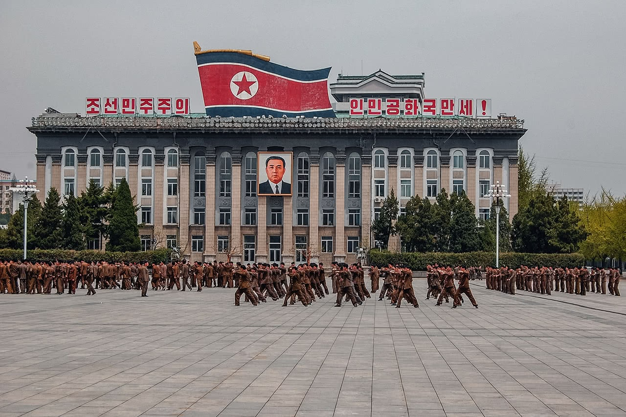 Students practice for the Mass Games in Kim Il-Sung Square, Pyongyang, North Korea.