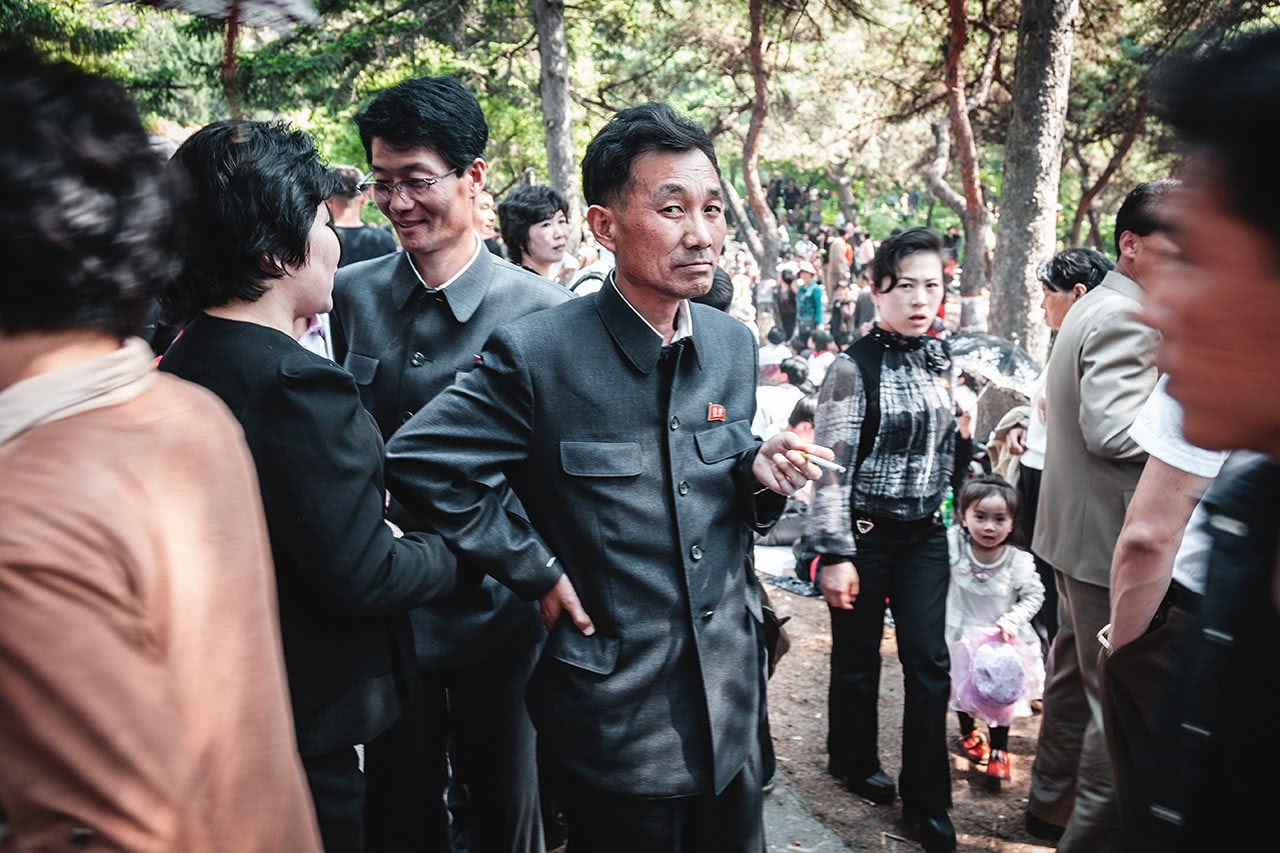 A North Korean man looks suspiciously at my camera during May Day celebrations in Pyongyang.