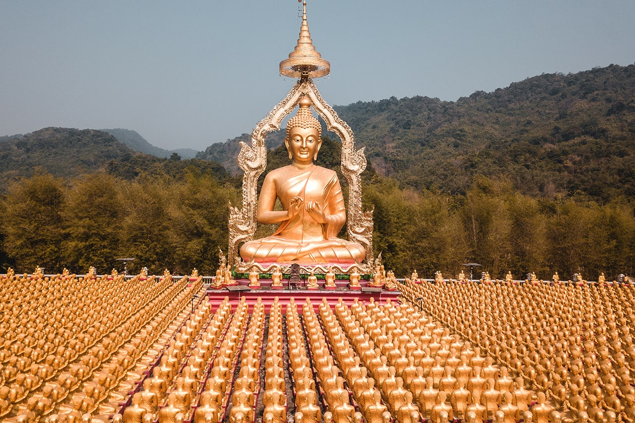 Hundreds of Buddha status at the Buddhism Memorial Park in Nakhon Nayok, Thailand.