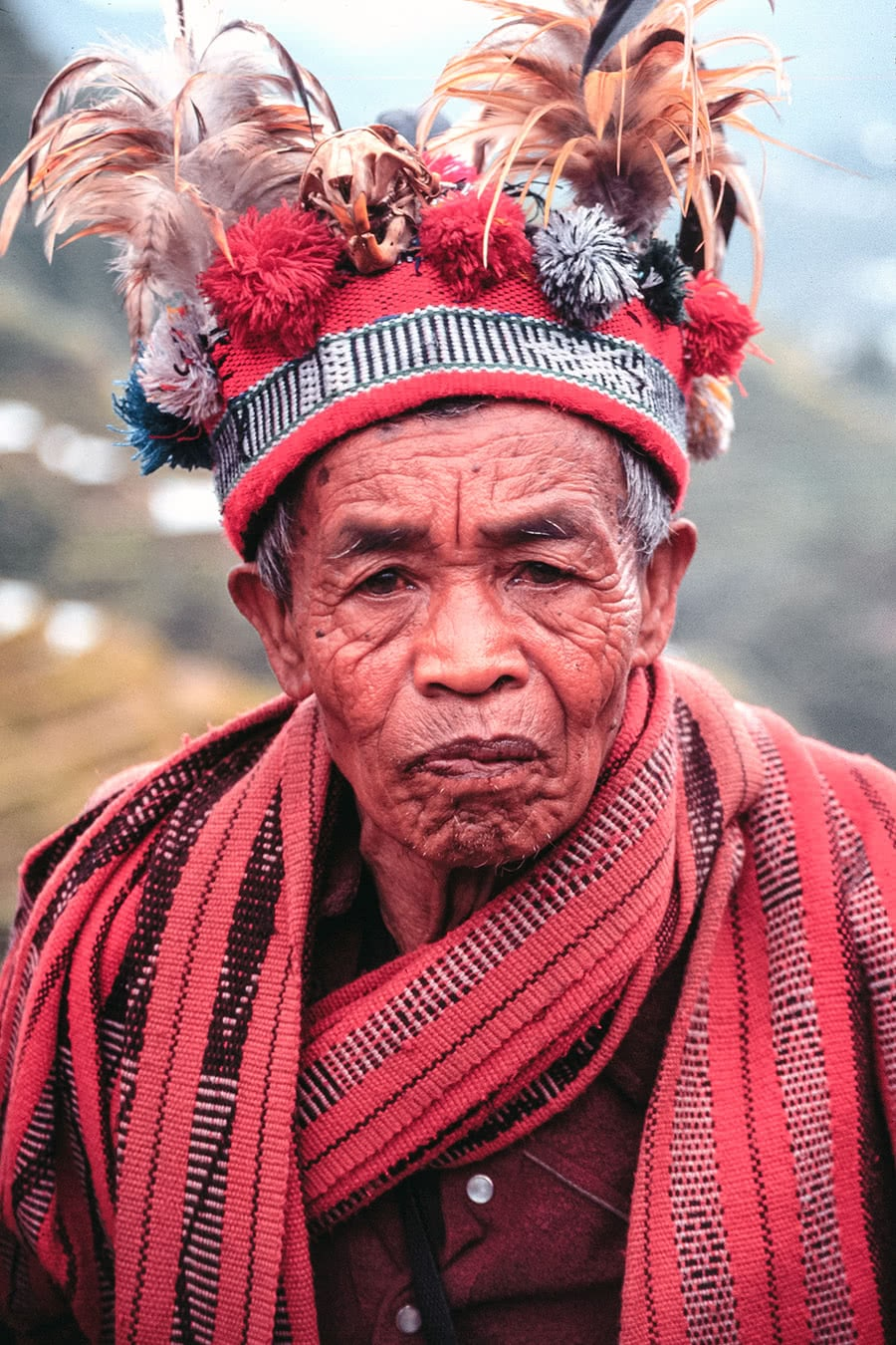 A man from the Ifugao tribe in Banaue, Philippines, wearing their traditional attire.