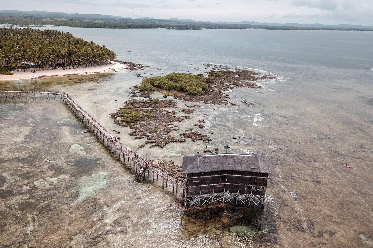 Drone view of Cloud 9, Siargao's famous surfing destination.