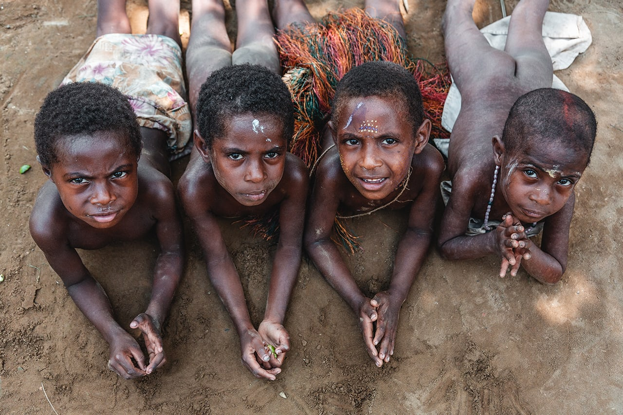 Children in Konmei Village in Papua New Guinea, home of the Yokoin tribe.
