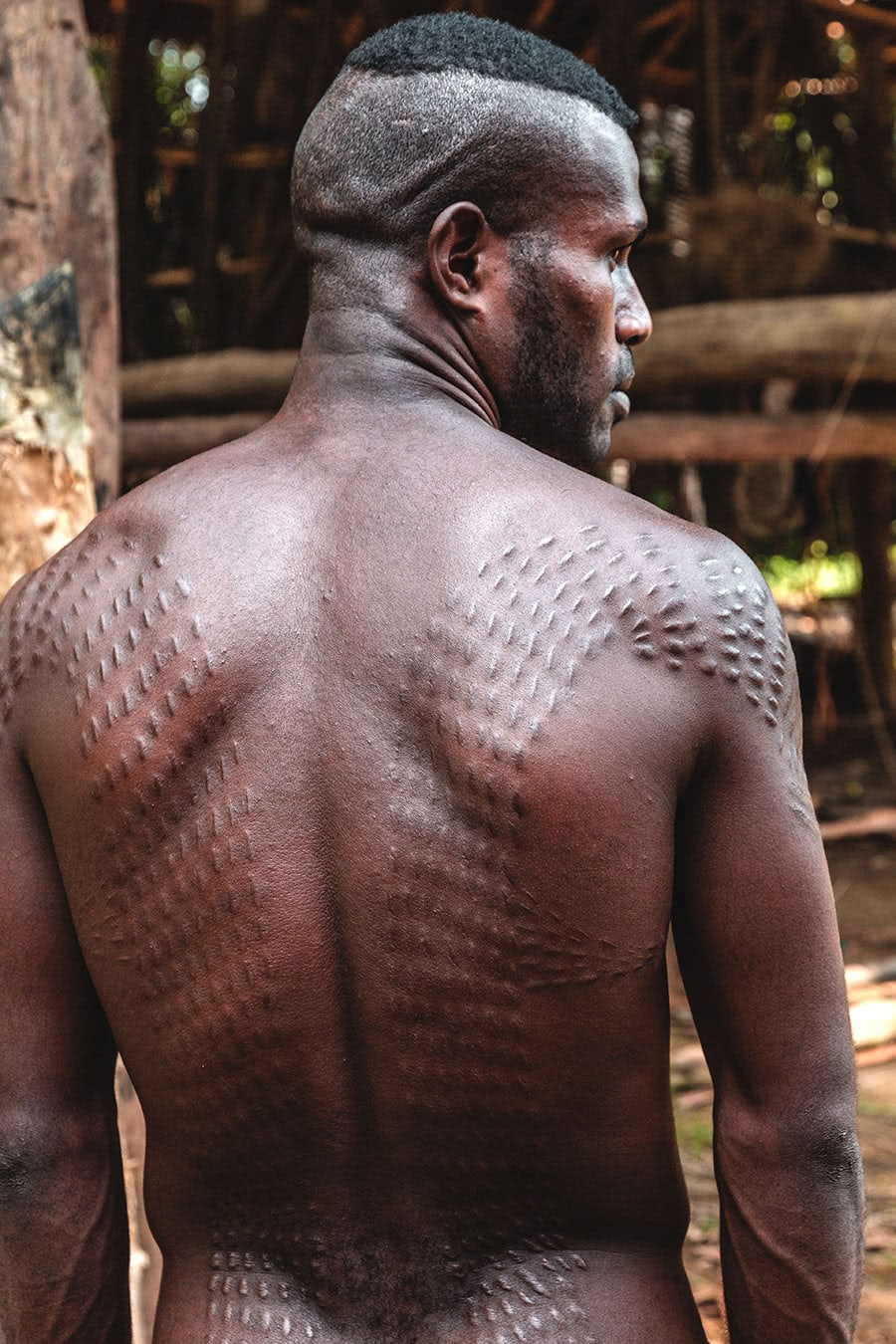 "One of the so-called ""crocodile men"" from the Chambri tribe in the Sepik River region of Papua New Guinea."