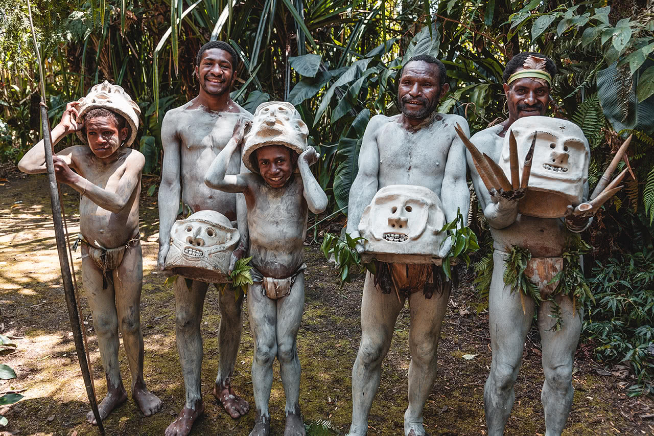 "A group of ""mudmen"" from the Kaulga tribe, near Mount Hagen, Papua New Guinea."