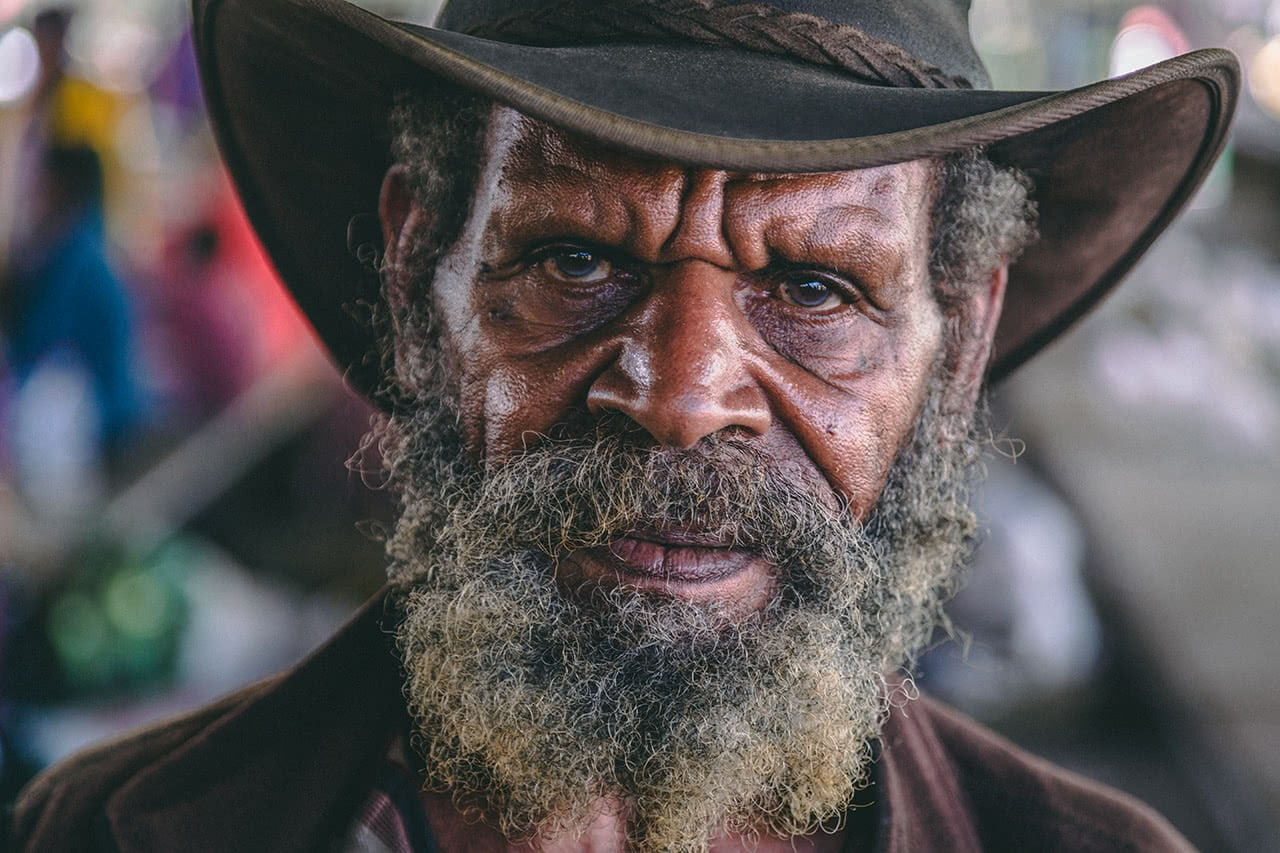 An intense looking vender at Mount Hagen market, Papua New Guinea.