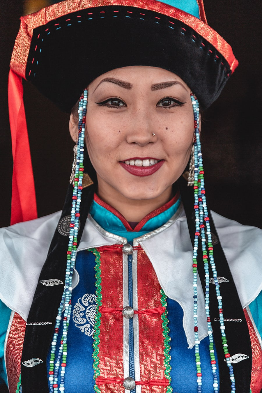 Buryat woman wearing traditional clothing.