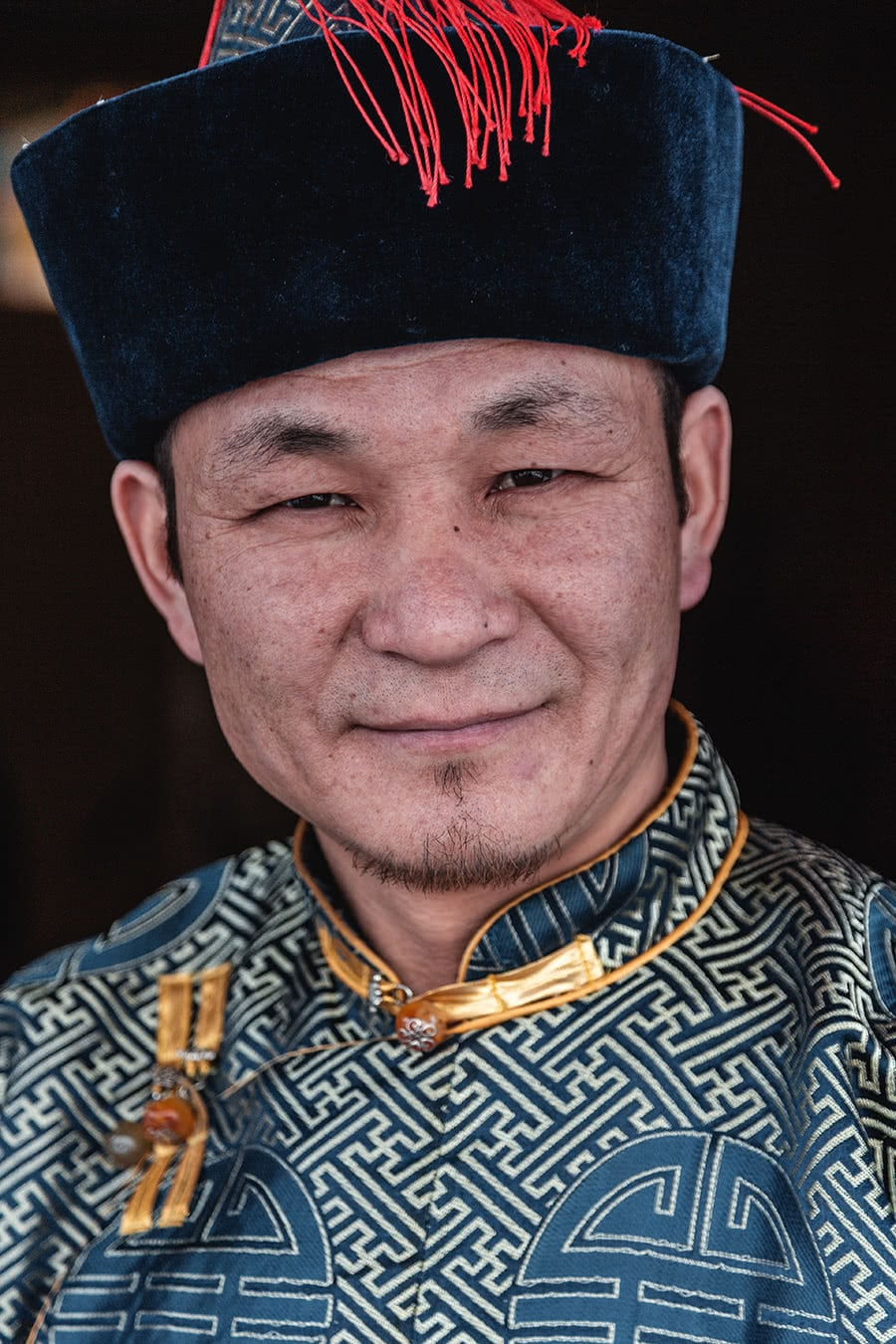 A Buryat man wearing traditional clothing.
