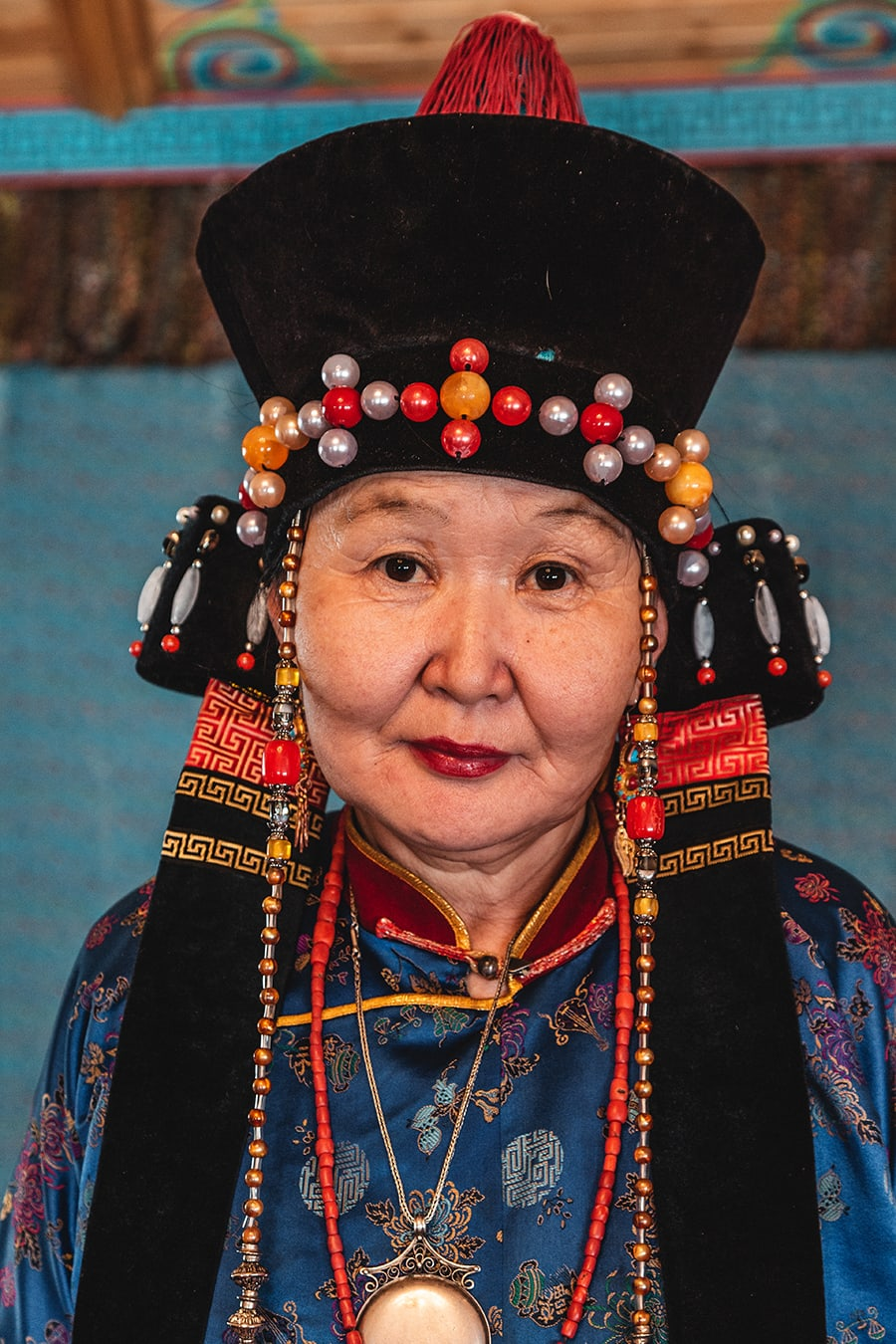A Buryat woman dressed in traditional attire.