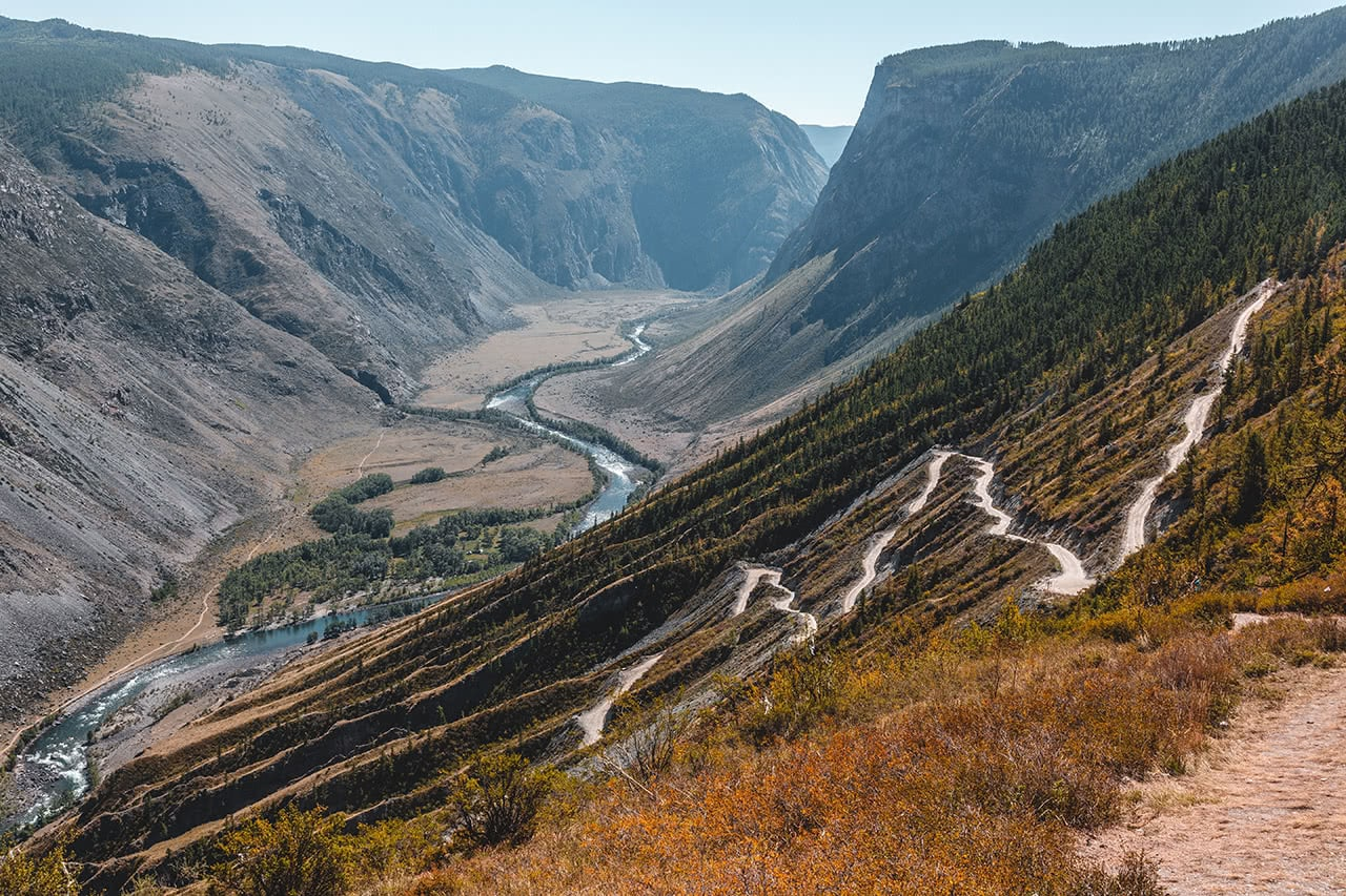 Zig zagging road in the Altai mountains, with the Chulyshman river below.