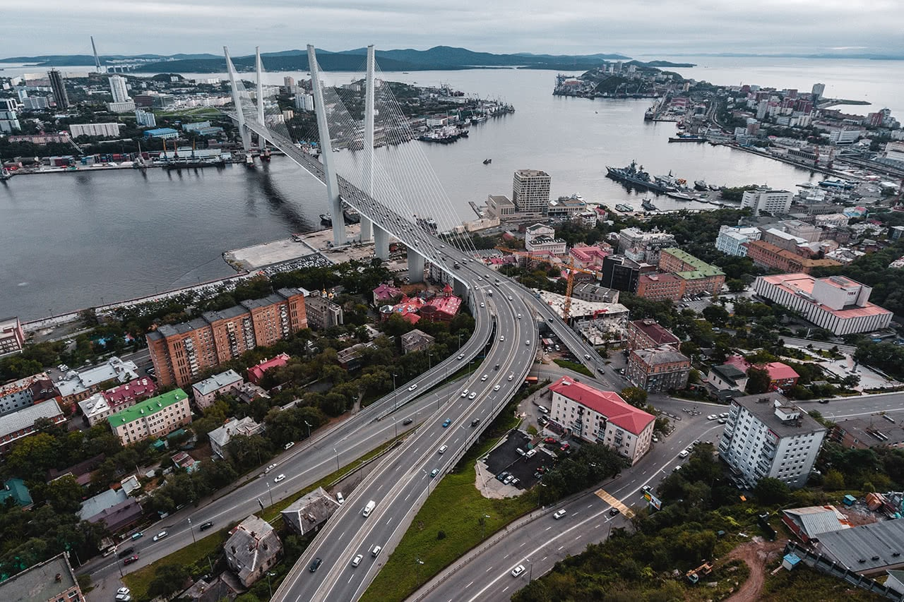 Drone view of the Zolotoy Bridge in Vladivostok, Russia.