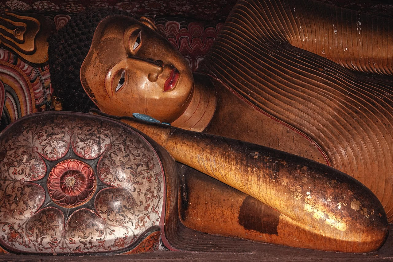 Buddha statue in Dambulla cave, Sri Lanka.