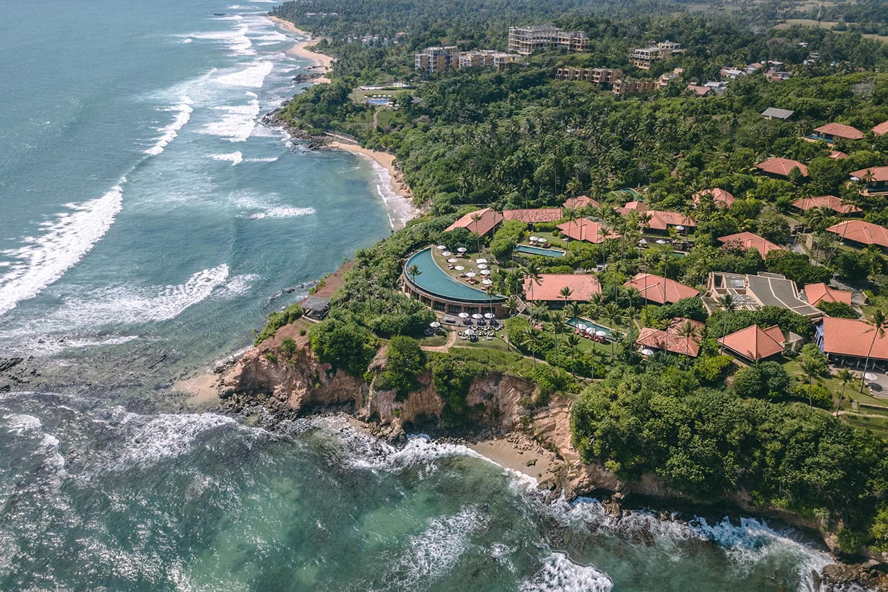 Drone view of Cape Weligama Hotel, Sri Lanka.