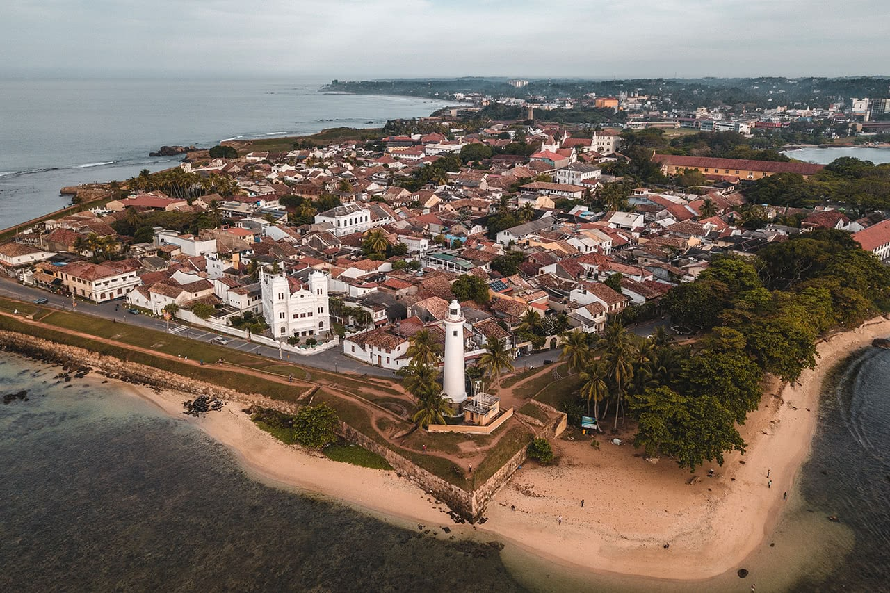 Drone photo of Galle, a city founded by the Portuguese, Dutch and British in the 16th century.