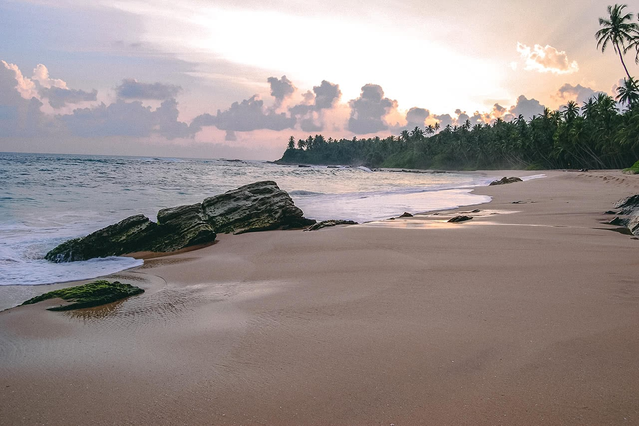 The beautiful beach at Amanwella, Tangalle, Sri Lanka.