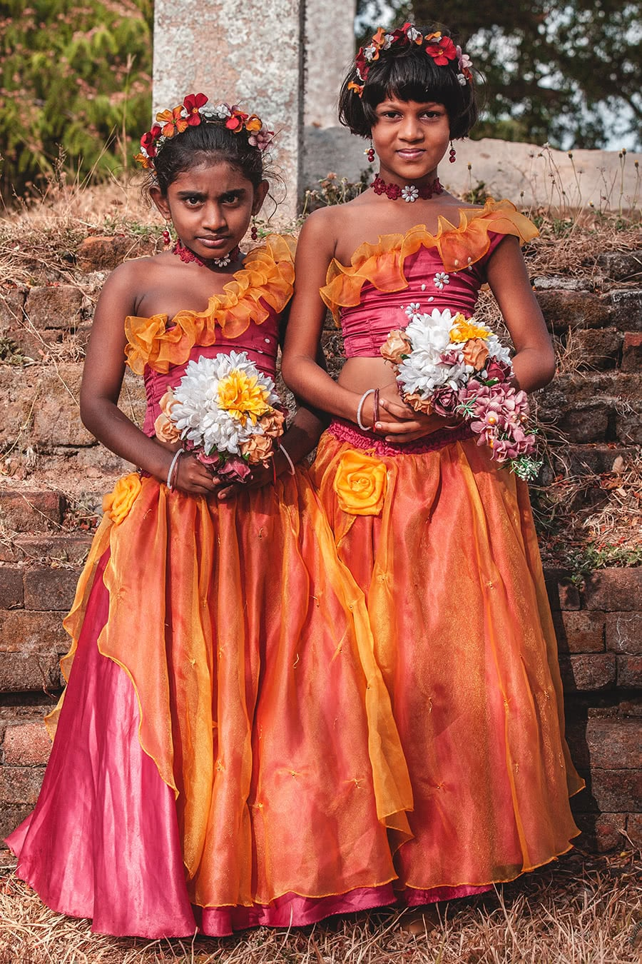 Girls in a wedding party posing for photographs in Anuradhapura, Sri Lanka