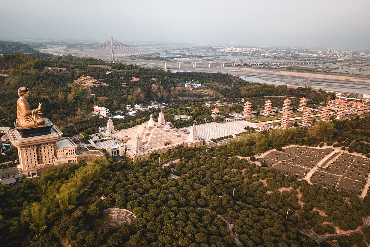 Drone photo of Fo Guang Shan Monastery in Kaohsiung, Taiwan
