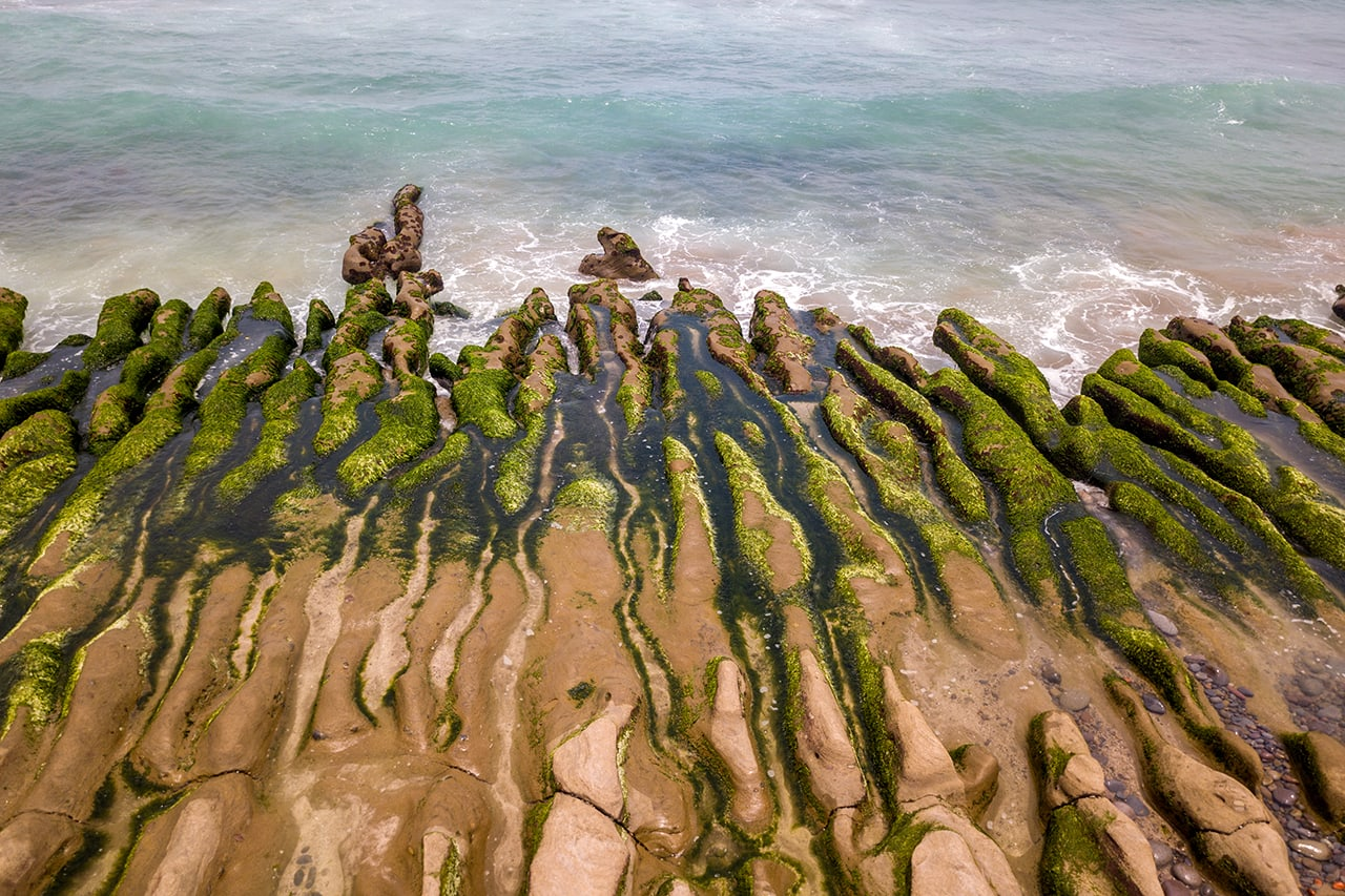 Drone photo of Laomei Green Reef in Shimen, Taiwan.