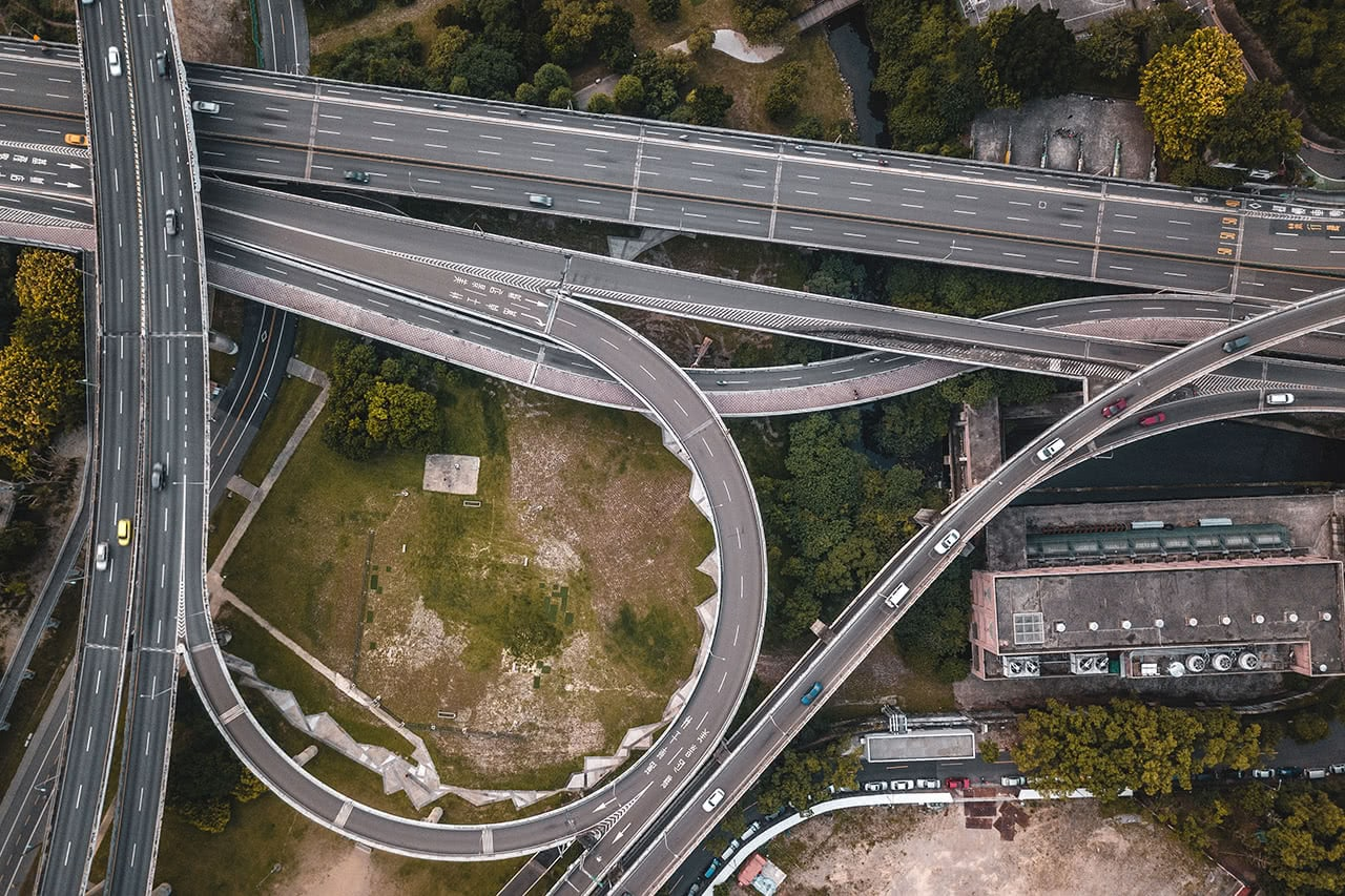 Drone photo of Taipei highway.