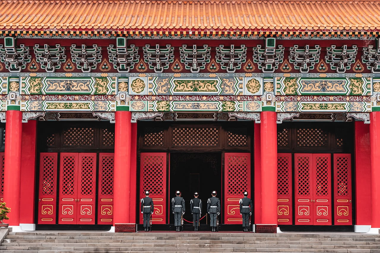 The changing of the guard ceremony at the Martyr's Shrine in Taipei.