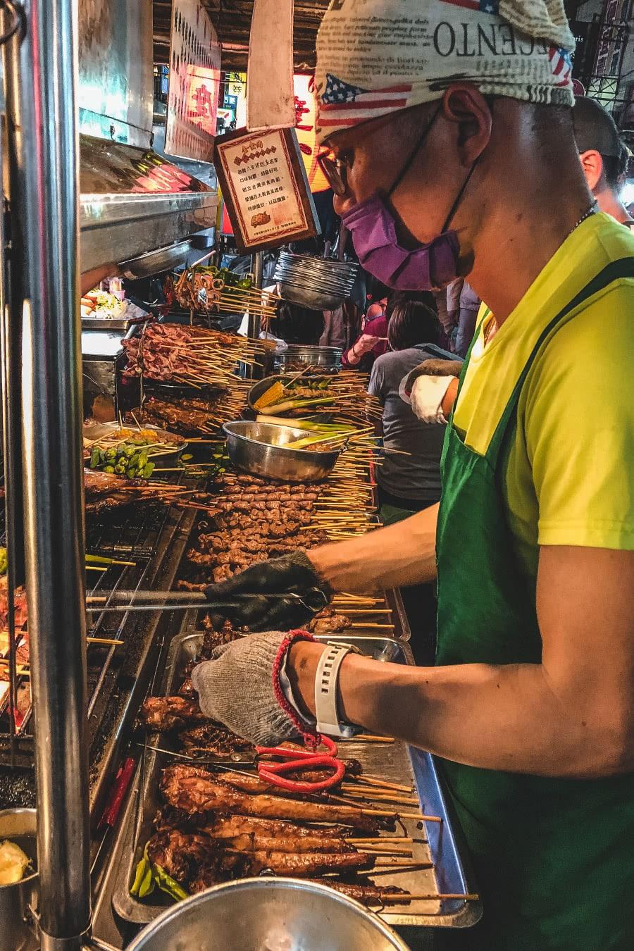 Food vendor at Liuhe Night Market in Khaosiung, Taiwan.