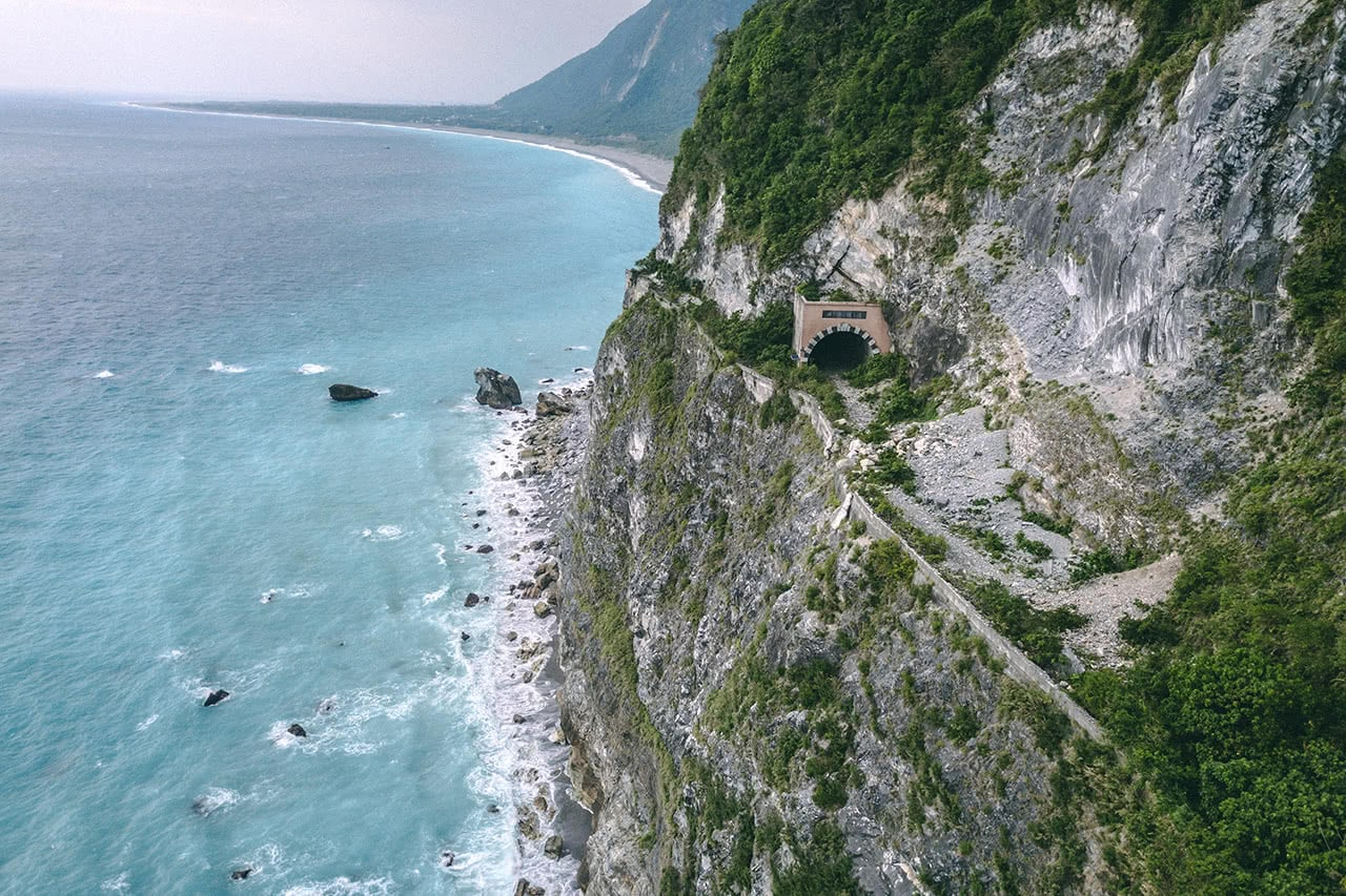 Drone photo of Qingshui Cliff in Taroko, Taiwan.