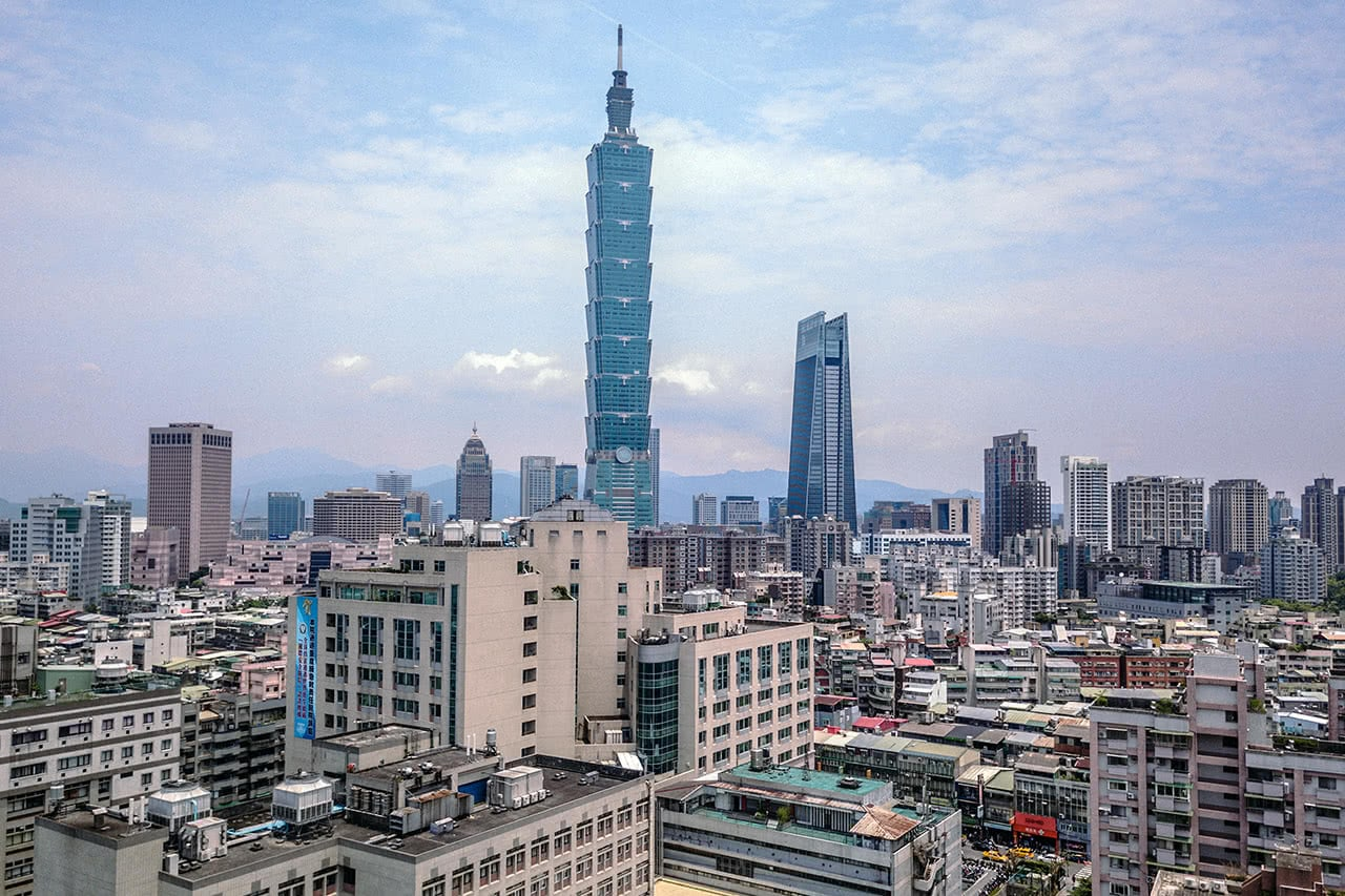 Drone photo of Taipei 101, Taiwan.