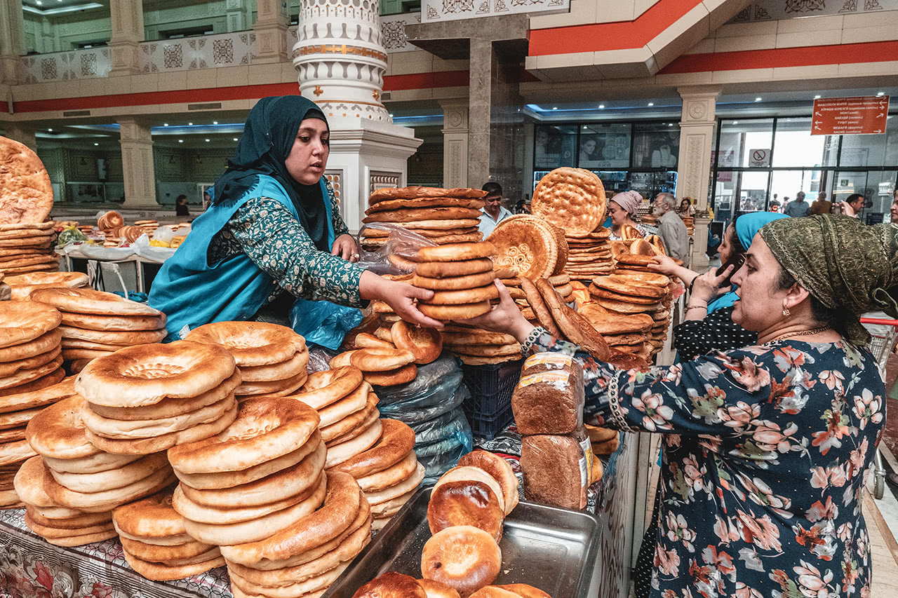 Dushanbe's Green Bazaar is a place where bread transactions happen in a big way.