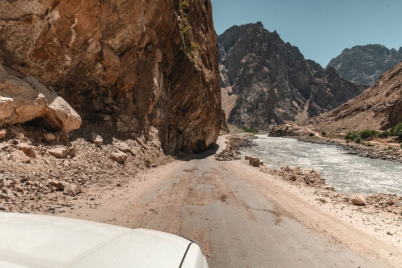 The spectacular road along the Pamir Highway, from Khalai Khum to Khorog - with Afghanistan on the right.