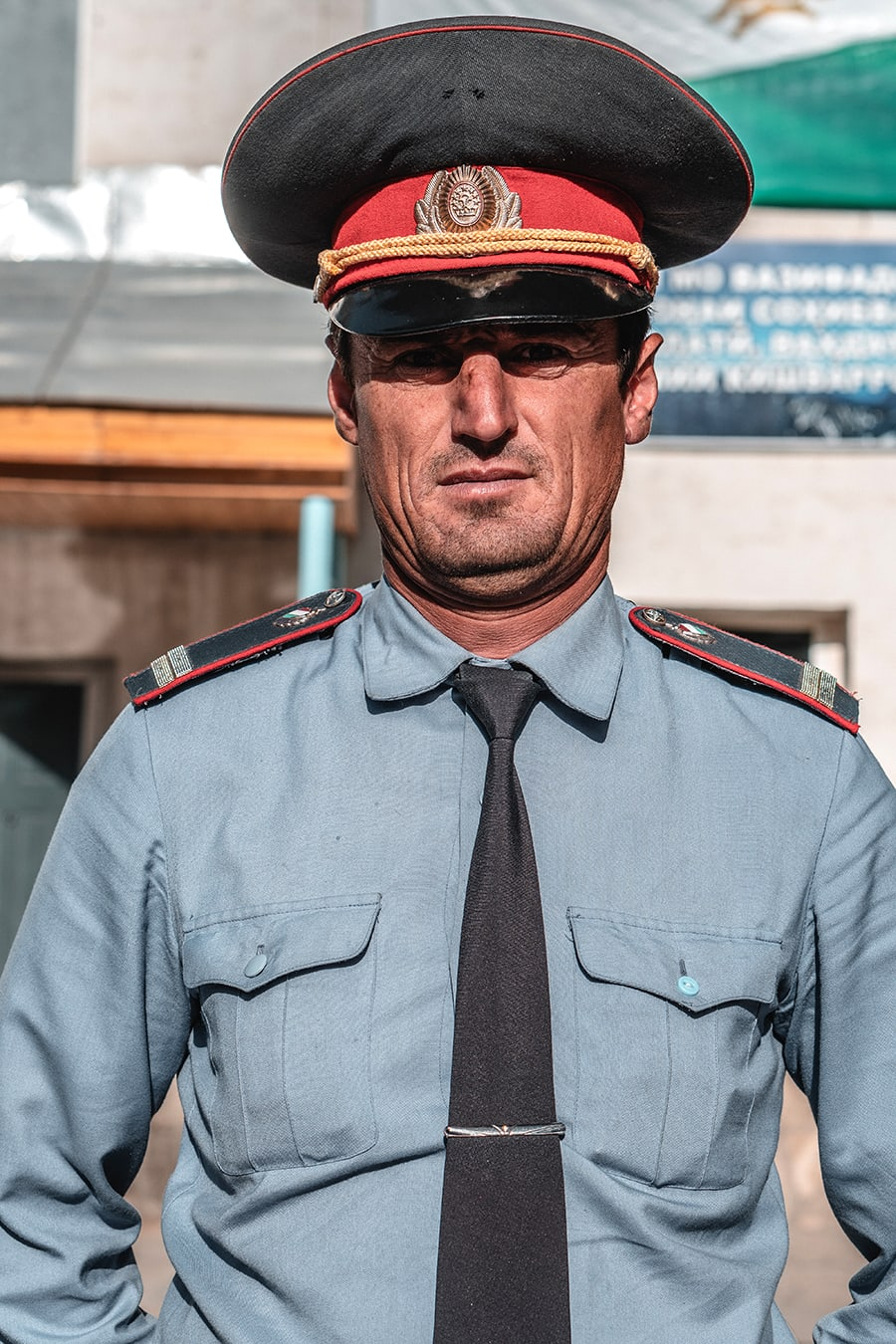 Portrait of a police officer in Khorog, Tajikistan along the Pamir Highway.