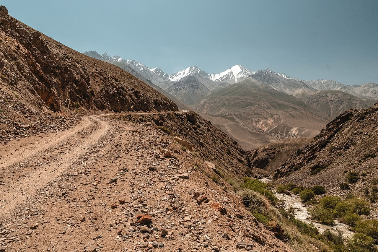Driving on the Pamir Highway near Langar, with Afghanistan on the right and the road to Osh on the left.
