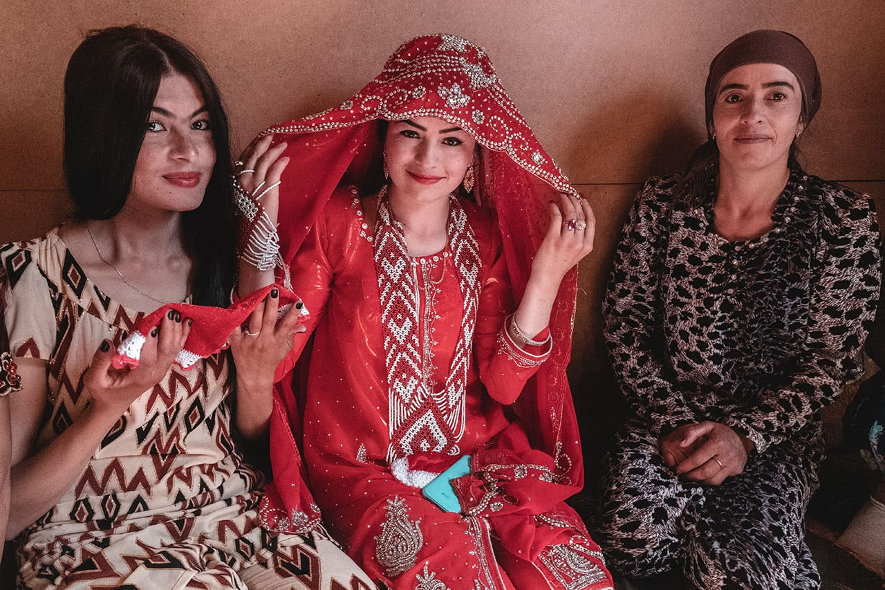 Wedding party and bride in Murghab, Tajikistan.