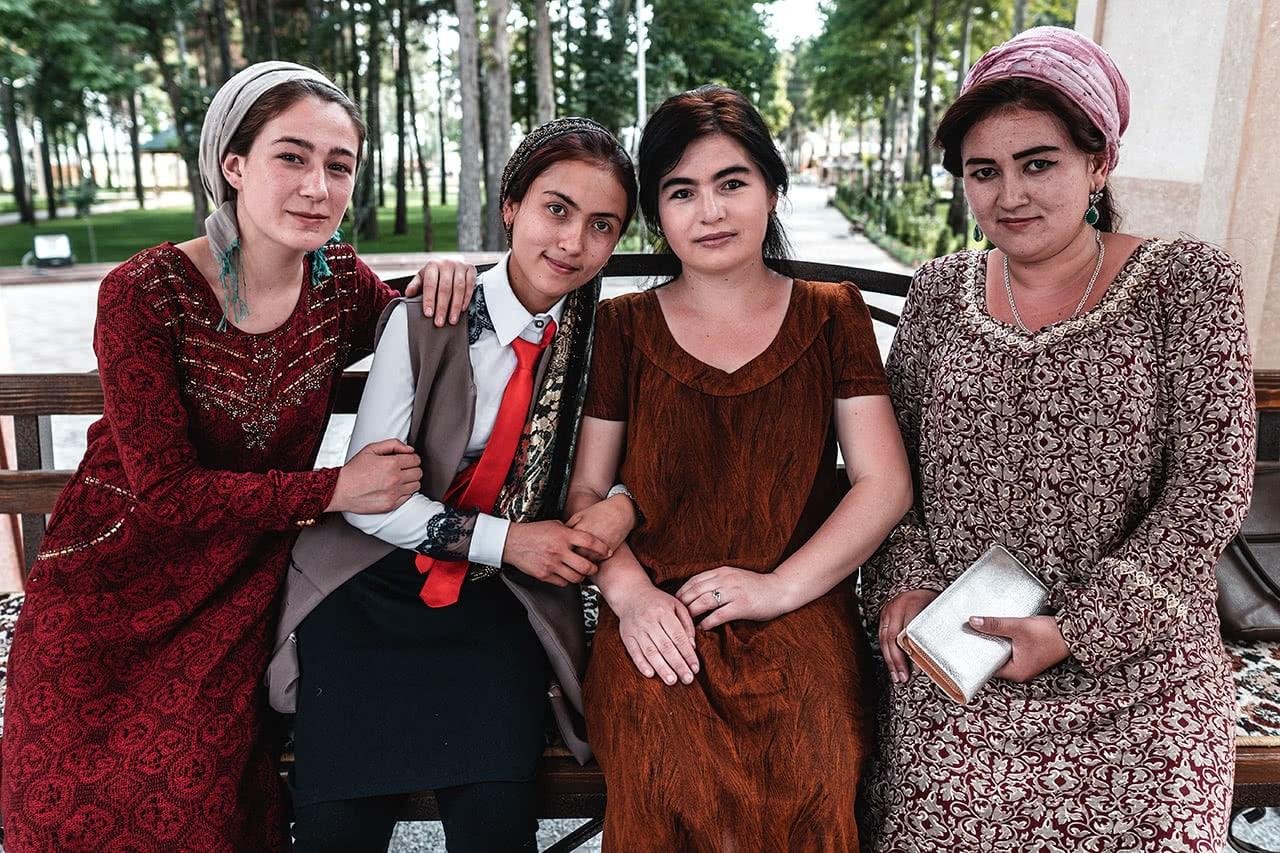 Tajik women in Khorog, Tajikistan, along the Pamir Highway.