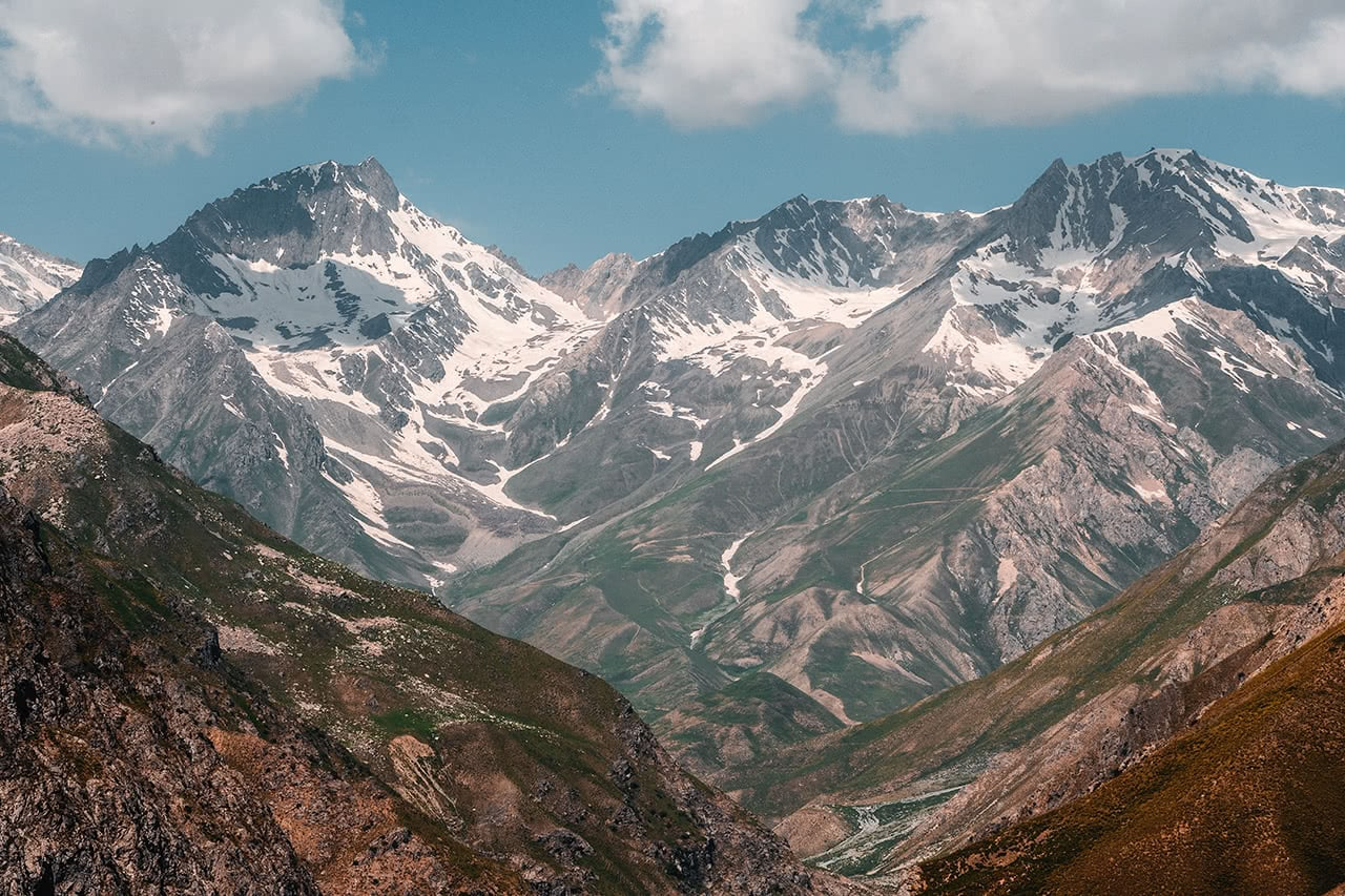 View of snow capped mountains in the Fann Mountains, Tajikistan.