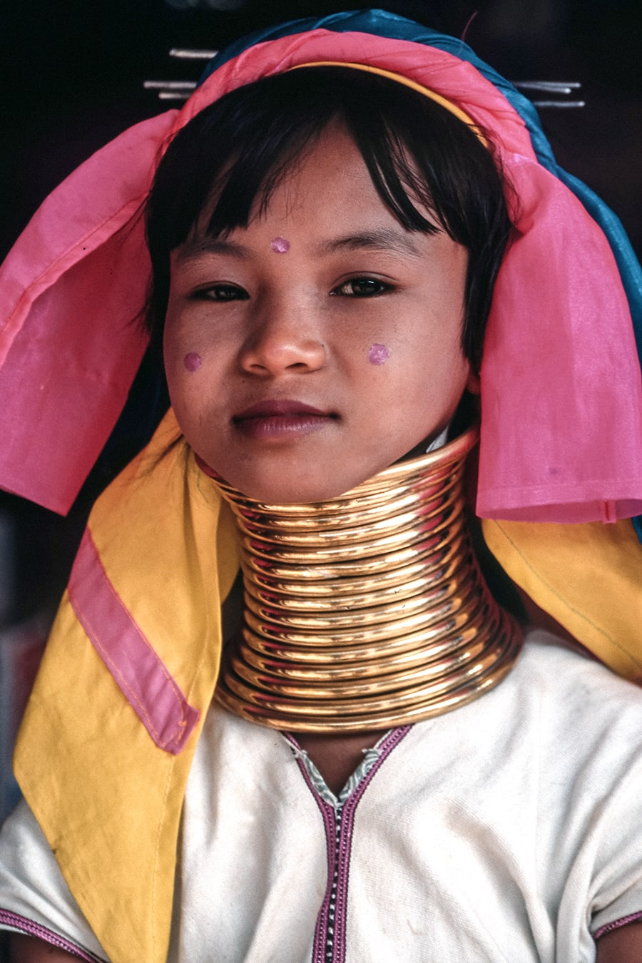 An old photo of a Palaung Longneck girl in Mae Hong Son, Thailand.