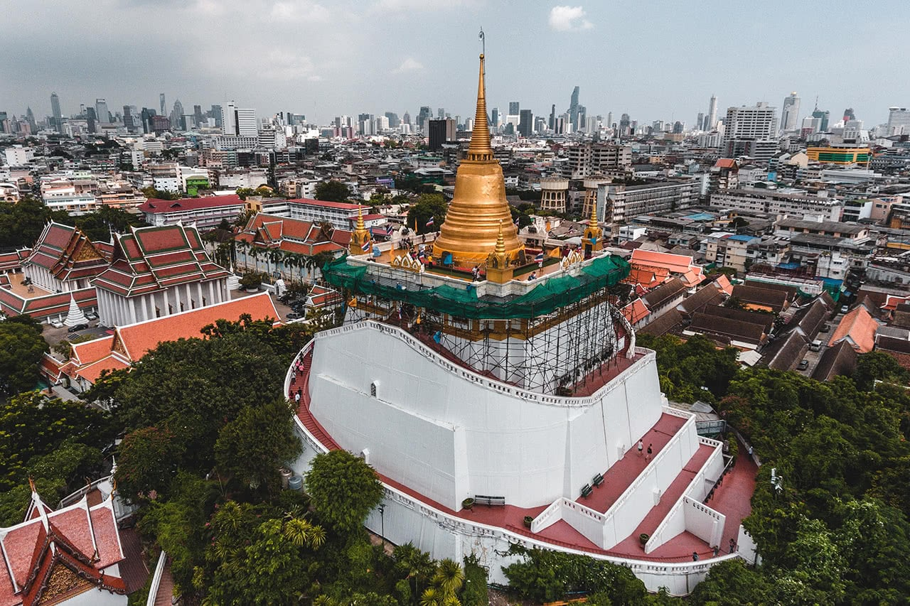 Drone photo of Wat Saket, also known as the Golden Mount, in Bangkok.