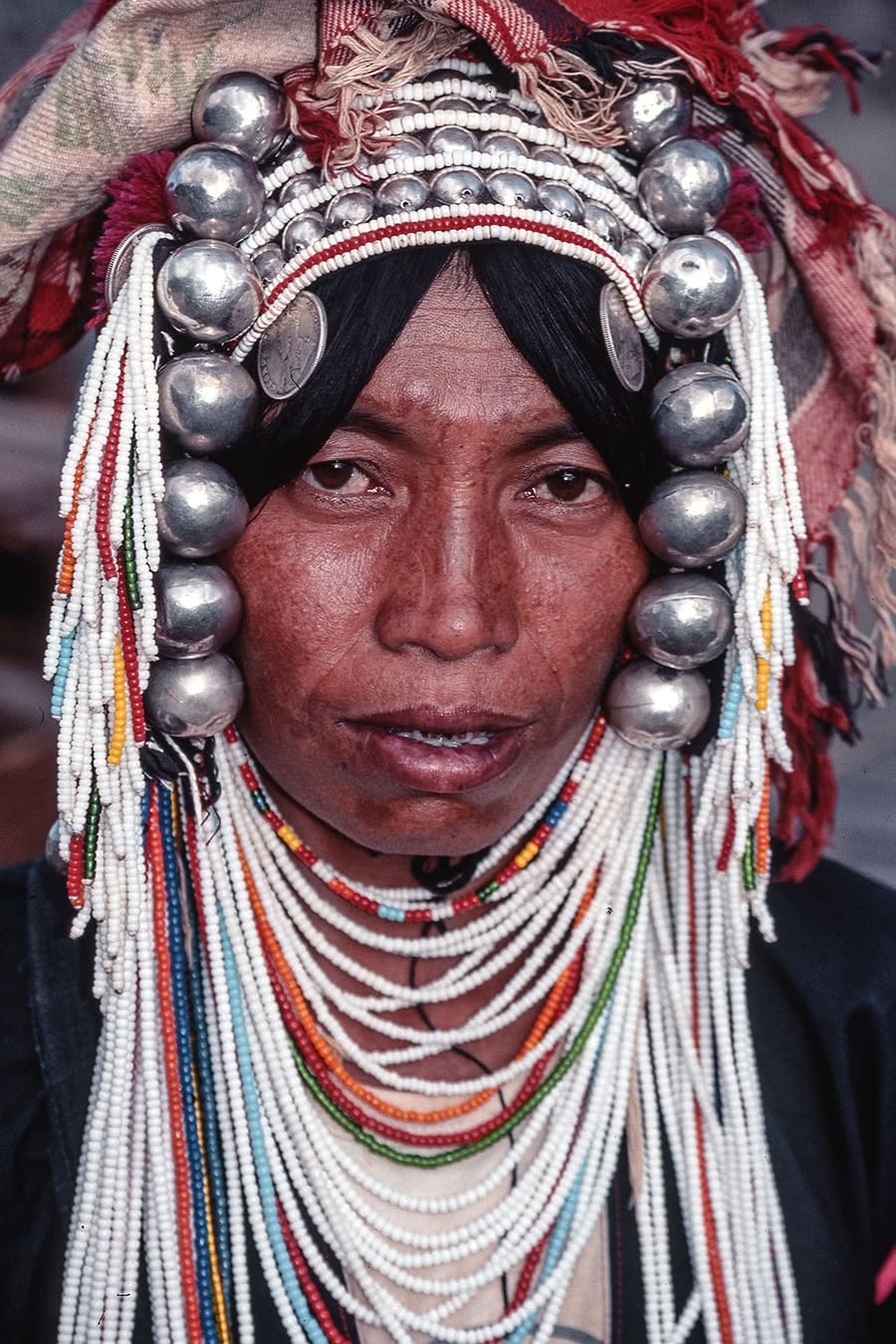 Portrait of an Akha woman from 1992 in Northern Thailand.