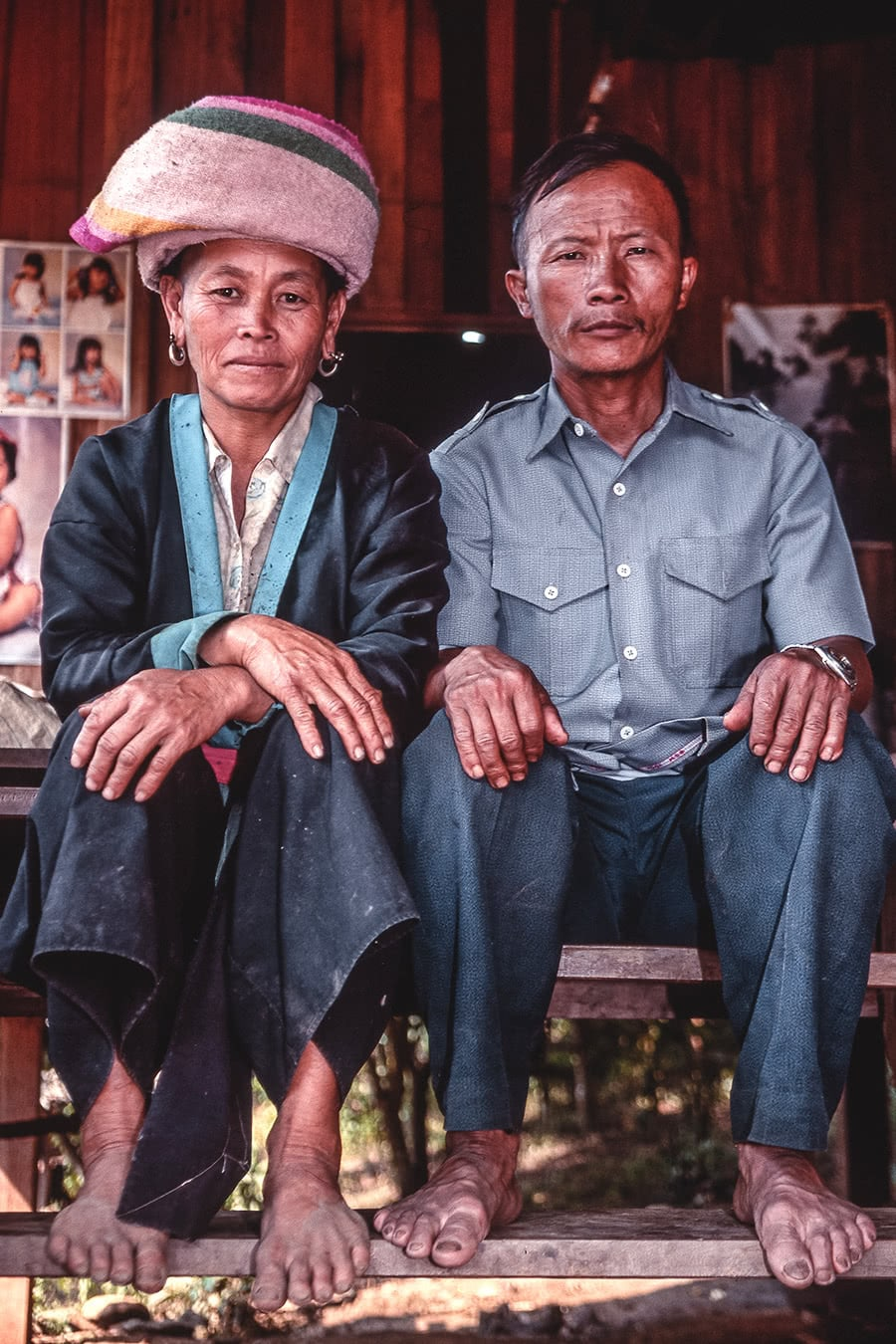 A Hmong couple posing for a photo in North Thailand in the early 1990's.