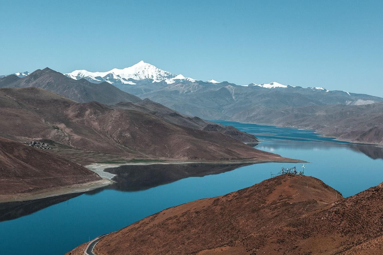The beautiful high altitude Yamdrok Lake in Tibet.