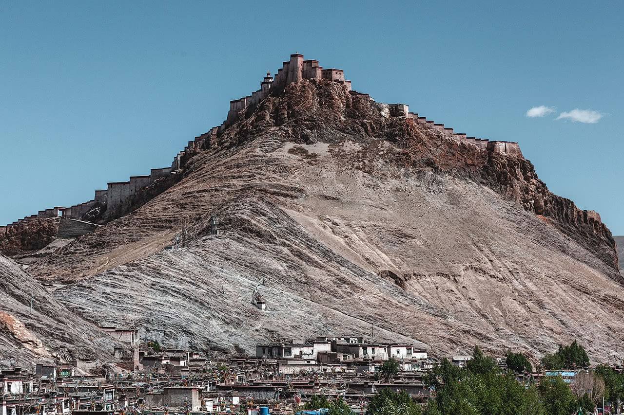 View of Gyantse Dzong (fortress) in Tibet.