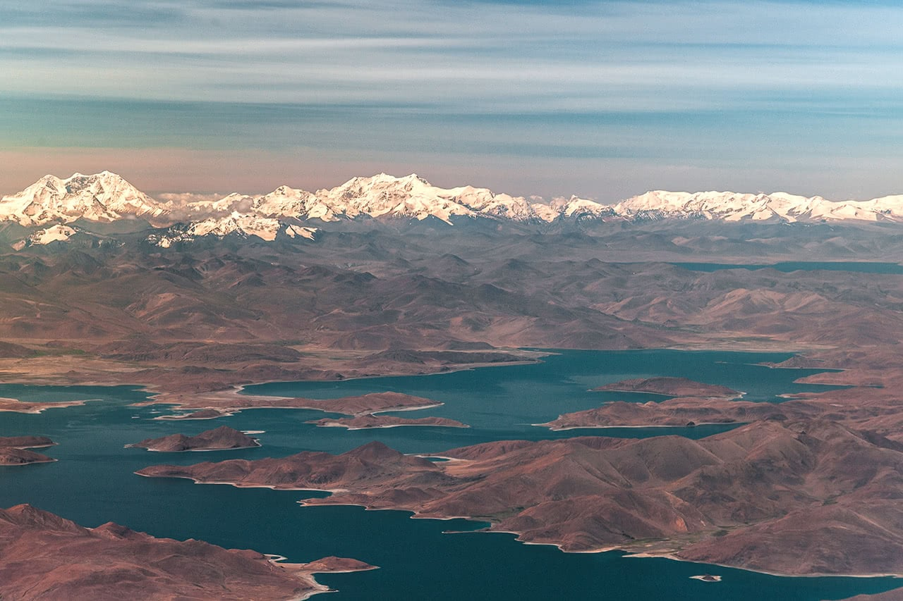Aerial view of Yamdrok Lake, Tibet.