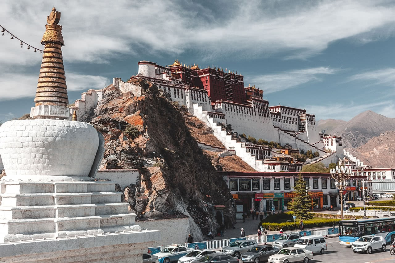 View of the Potala Palace in Lhasa, Tibet.